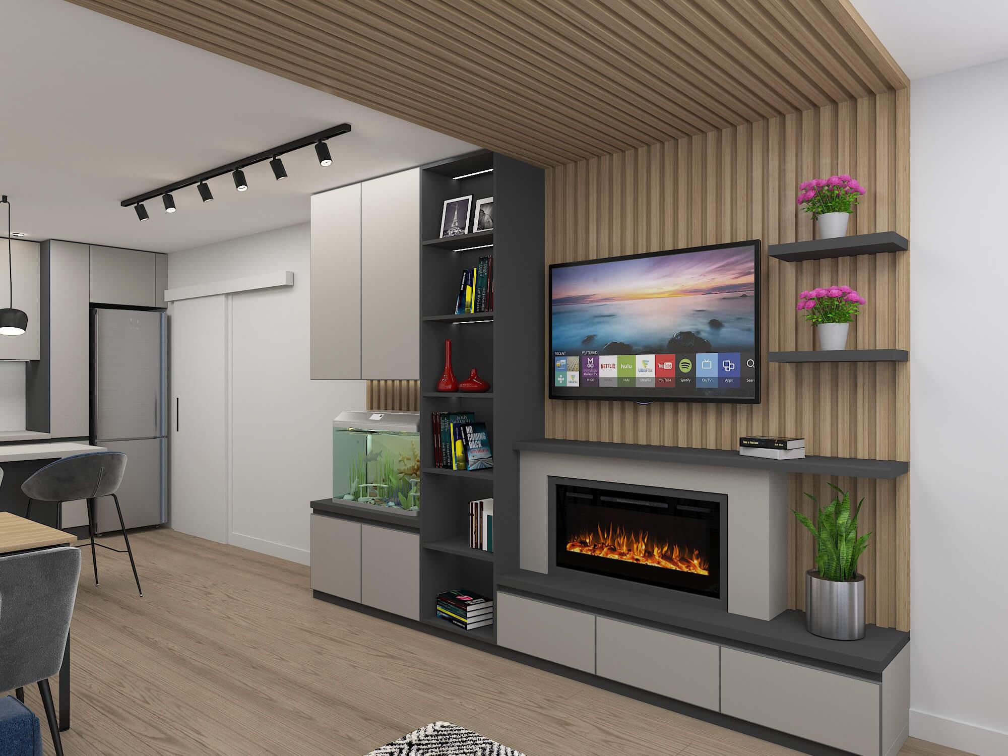 Проект на дневна, коридор и бани в апартамент <br> гр. София